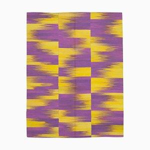 Purple Turkish Hand Knotted Wool Flatwave Kilim Carpet