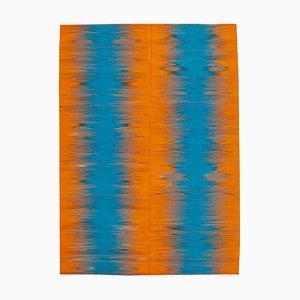 Orange Oriental Handmade Wool Flatwave Kilim Carpet