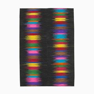 Black Oriental Handmade Wool Flatwave Kilim Carpet