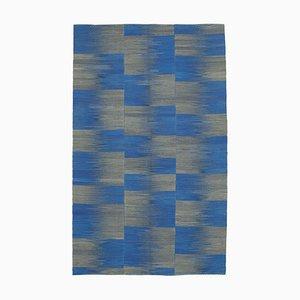 Blue Turkish Handmade Wool Flatwave Kilim Carpet