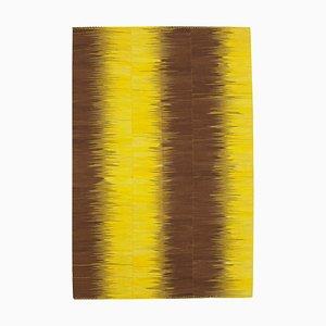 Yellow Turkish Hand Knotted Wool Flatwave Kilim Carpet