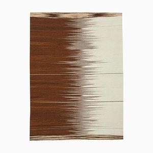 Brown Turkish Handmade Wool Flatwave Kilim Carpet