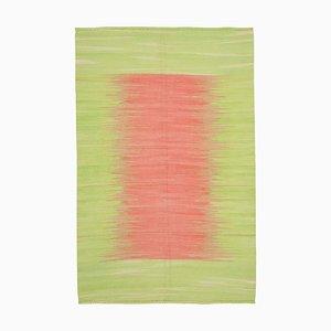Green Turkish Hand Knotted Wool Flatwave Kilim Carpet