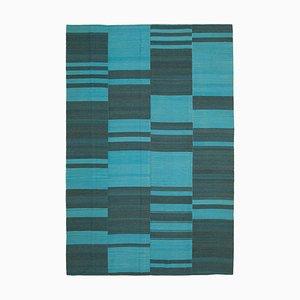 Turquoise Oriental Hand Knotted Wool Flatwave Kilim Carpet