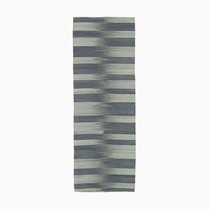 Grey Turkish Hand Knotted Wool Flatwave Kilim Carpet
