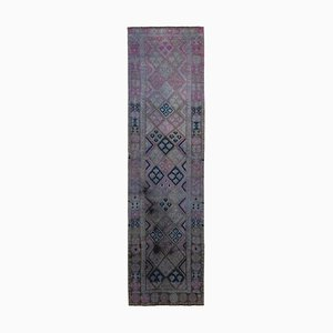 Anatolian Purple Hand Knotted Wool Vintage Runner Carpet