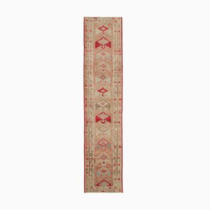 Anatolian Pink Hand Knotted Wool Vintage Runner Carpet