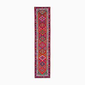 Handmade Wool Turkish Red Vintage Runner Carpet