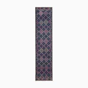Anatolian Purple Hand Knotted Wool Vintage Runner Carpet