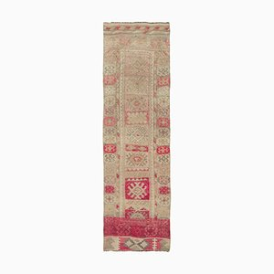 Vintage Oriental Handmade Wool Beige Runner Carpet