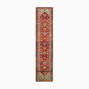 Anatolian Red Hand Knotted Wool Vintage Runner Carpet