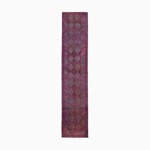 Vintage Oriental Handmade Wool Purple Runner Carpet