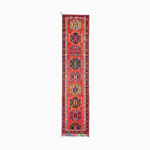 Anatolian Orange Hand Knotted Wool Vintage Runner Carpet