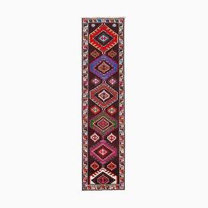 Vintage Oriental Handmade Wool Multicolor Runner Carpet