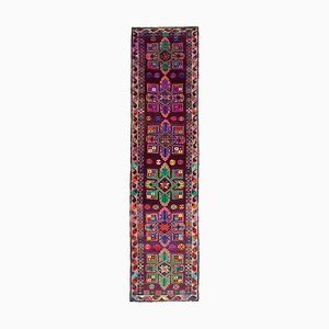 Anatolian Multicolor Hand Knotted Wool Vintage Runner Carpet
