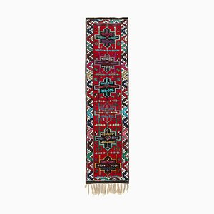 Vintage Oriental Handmade Wool Red Runner Carpet