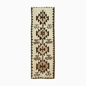 Handmade Wool Turkish Beige Vintage Runner Carpet
