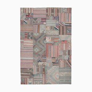 Turkish Beige Handmade Wool Antique Patchwork Carpet