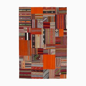Turkish Orange Handmade Wool Antique Patchwork Carpet