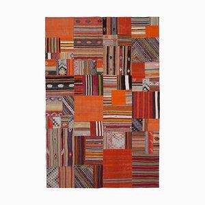 Oriental Orange Hand Knotted Wool Antique Patchwork Carpet