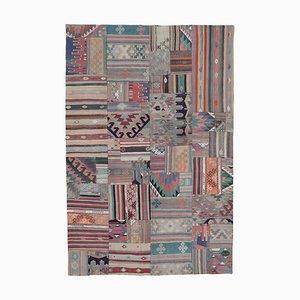 Oriental Beige Hand Knotted Wool Antique Patchwork Carpet