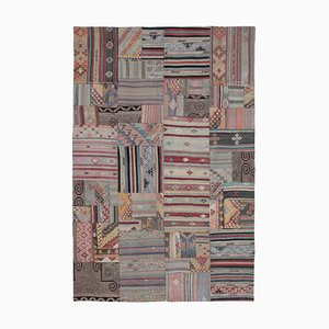 Oriental Brown Hand Knotted Wool Antique Patchwork Carpet