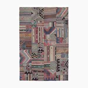 Anatolischer Handgeknüpfter Antiker Wolle Patchwork Teppich