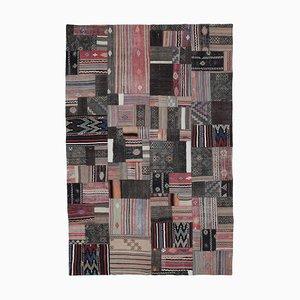 Turkish Brown Handmade Wool Antique Patchwork Carpet