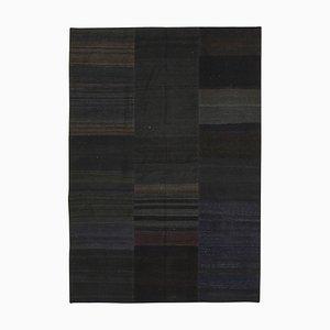 Turkish Black Handmade Wool Antique Patchwork Carpet