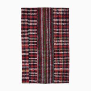 Turkish Red Handmade Wool Kilim Patchwork Carpet