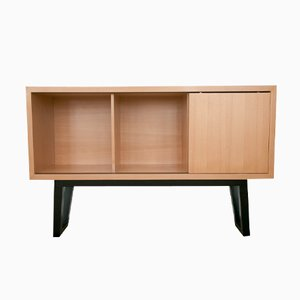 Minimalist European Handmade Cabinet of Lined Beech Wood by Maria Vidali