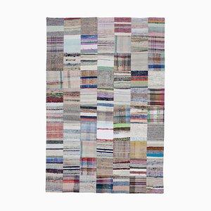 Anatolischer Handgemachter Mehrfarbiger Kelim Patchwork Teppich aus Wolle