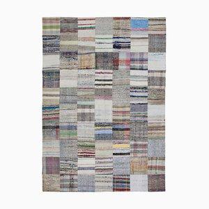 Anatolian Beige Handmade Wool Kilim Patchwork Carpet