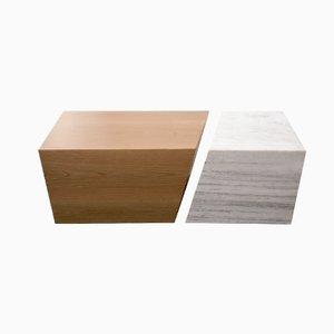 Couchtisch aus Holz mit Marmor von Maria Vidali