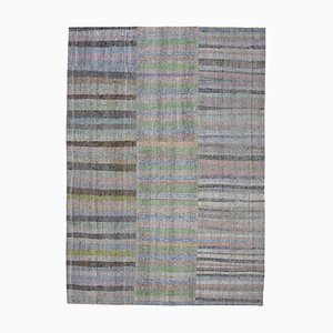 Oriental Grey Hand Knotted Wool Kilim Patchwork Carpet