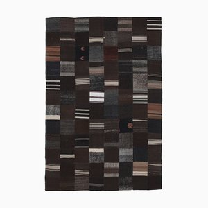 Anatolian Black Handmade Wool Kilim Patchwork Carpet