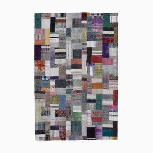 Mehrfarbiger Handgeknüpfter Orientalischer Kelim Patchwork Teppich aus Wolle