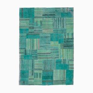 Anatolian Turquoise Handmade Wool Kilim Patchwork Carpet