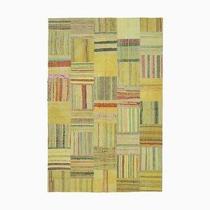 Turkish Yellow Handmade Wool Kilim Patchwork Carpet