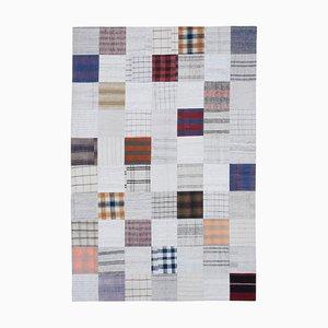 Orientalischer Weißer Handgeknüpfter Kelim Patchwork Teppich aus Wolle