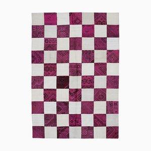 Turkish Beige Handmade Wool Kilim Patchwork Carpet