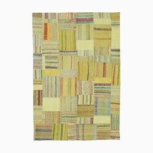 Oriental Yellow Hand Knotted Wool Kilim Patchwork Carpet