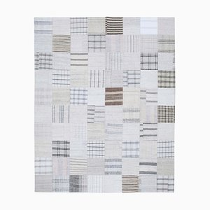 Oriental White Hand Knotted Wool Kilim Patchwork Carpet