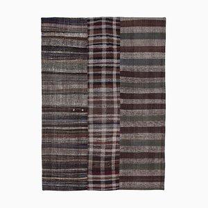 Turkish Brown Handmade Wool Kilim Patchwork Carpet