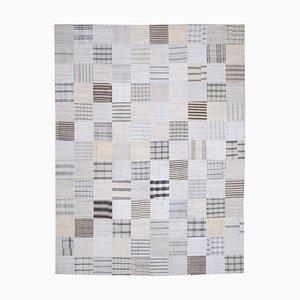 Oriental Beige Hand Knotted Wool Kilim Patchwork Carpet
