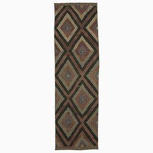 Anatolian Hand Knotted Wool Vintage Runner Kilim Carpet