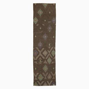 Anatolian Handmade Wool Vintage Runner Kilim Carpet