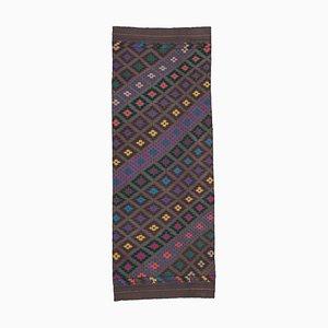 Turkish Handmade Wool Vintage Runner Kilim Carpet