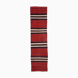 Turkish Hand Knotted Wool Vintage Runner Kilim Carpet