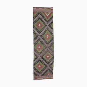 Anatolian Hand Knotted Wool Vintage Runner Kilim Carpet